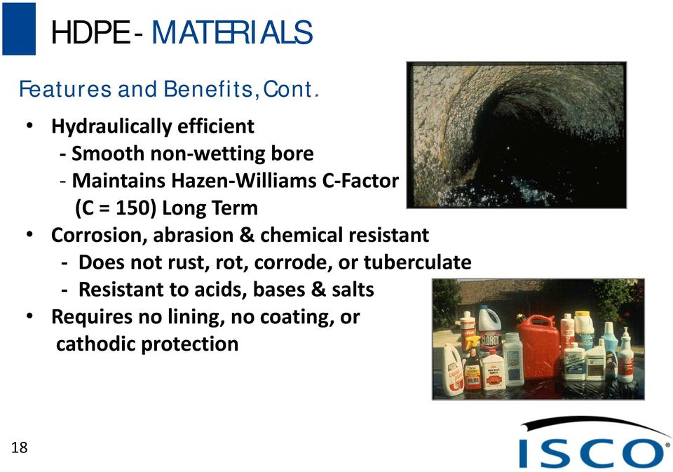 Factor (C = 150) Long Term Corrosion, abrasion & chemical resistant Does not