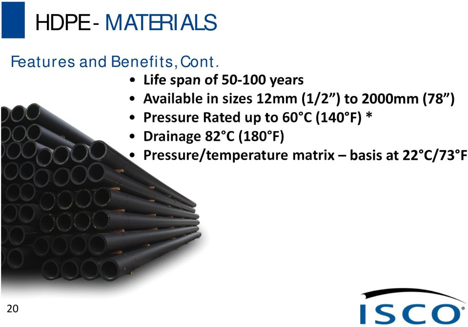 to 2000mm (78 ) Pressure Rated up to 60 C (140 F) *