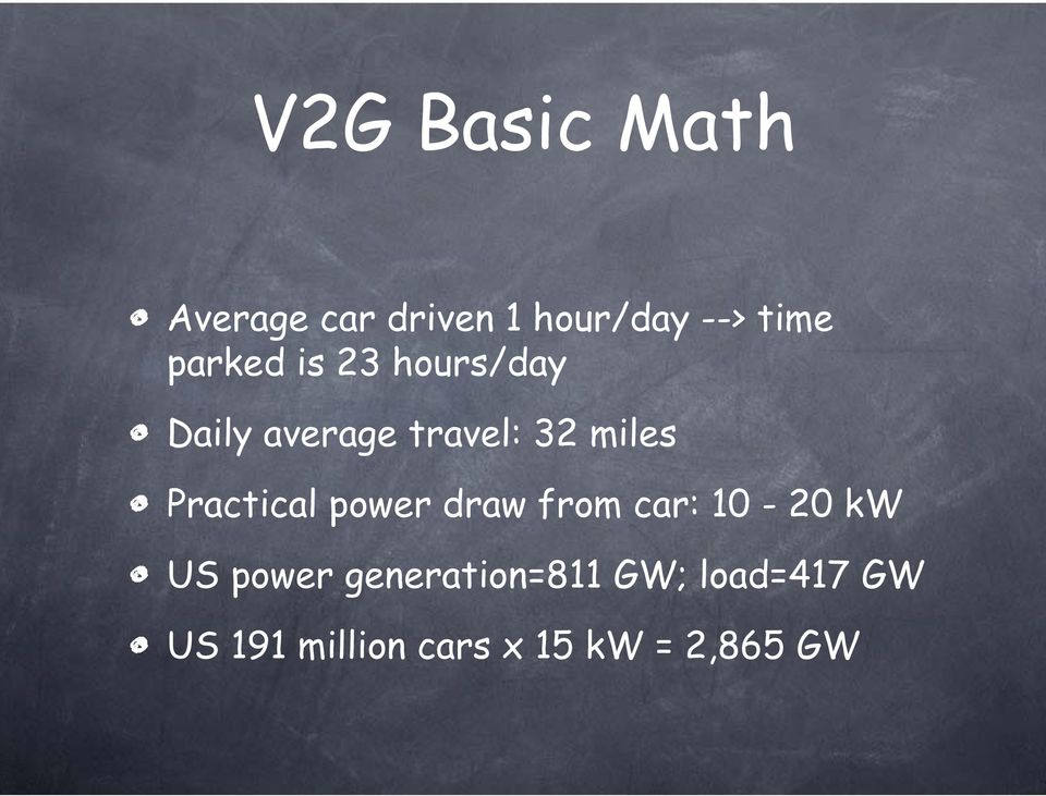 Practical power draw from car: 10-20 kw US power