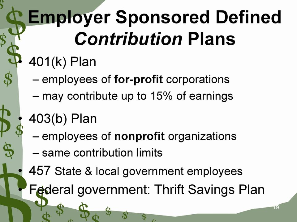 Plan employees of nonprofit organizations same contribution limits 457