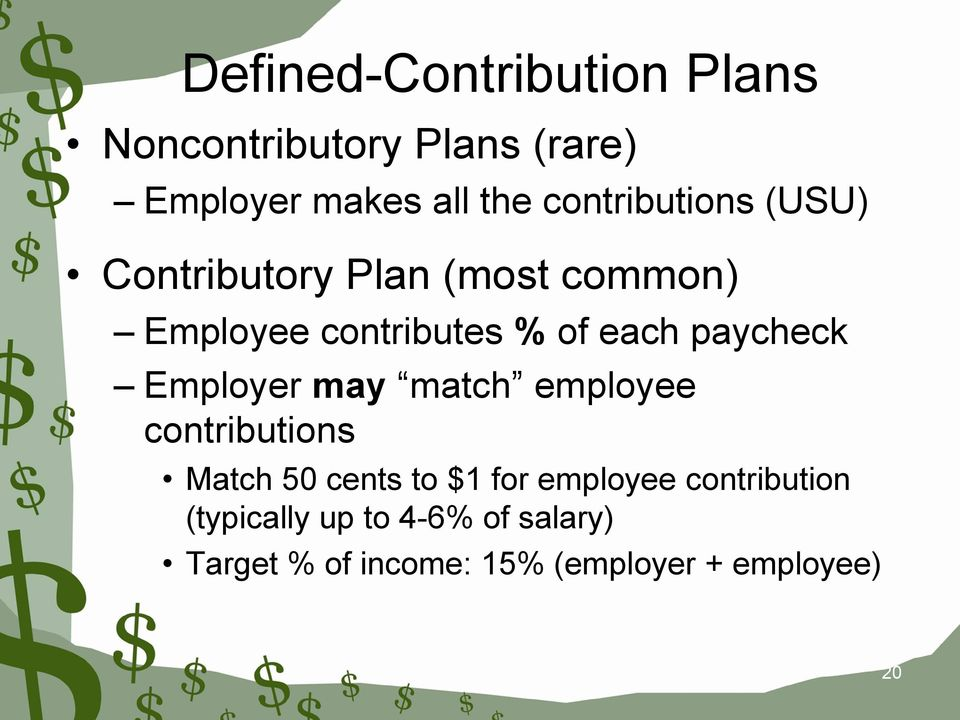 paycheck Employer may match employee contributions Match 50 cents to $1 for employee