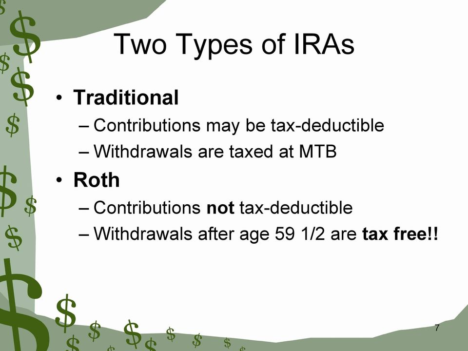 at MTB Roth Contributions not tax-deductible