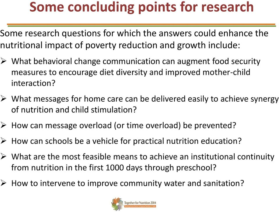 What messages for home care can be delivered easily to achieve synergy of nutrition and child stimulation? How can message overload (or time overload) be prevented?