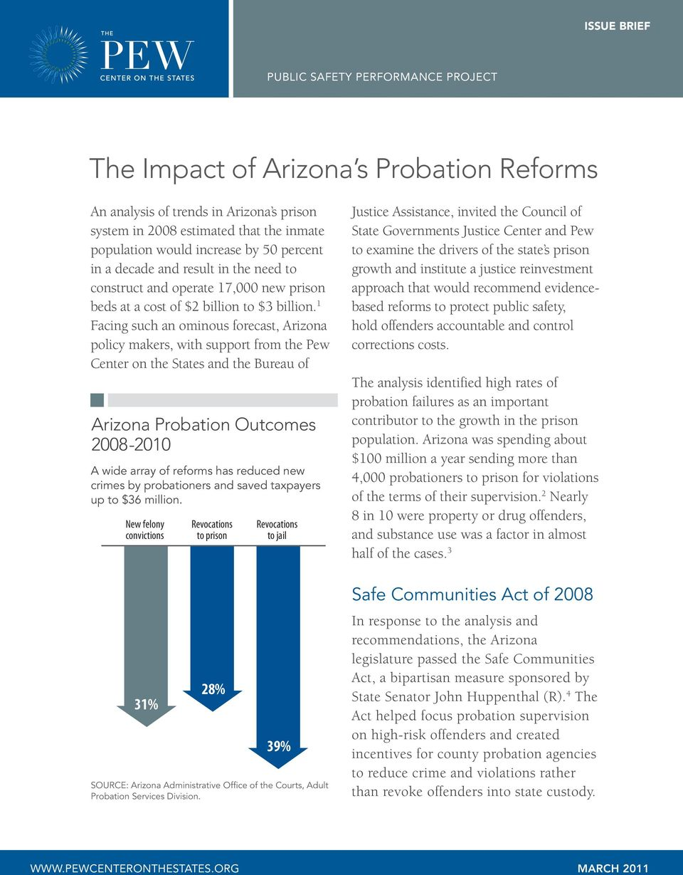 1 Facing such an ominous forecast, Arizona policy makers, with support from the Pew Center on the States and the Bureau of Arizona Probation Outcomes 2008-2010 A wide array of reforms has reduced new