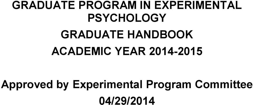 ACADEMIC YEAR 2014-2015 Approved