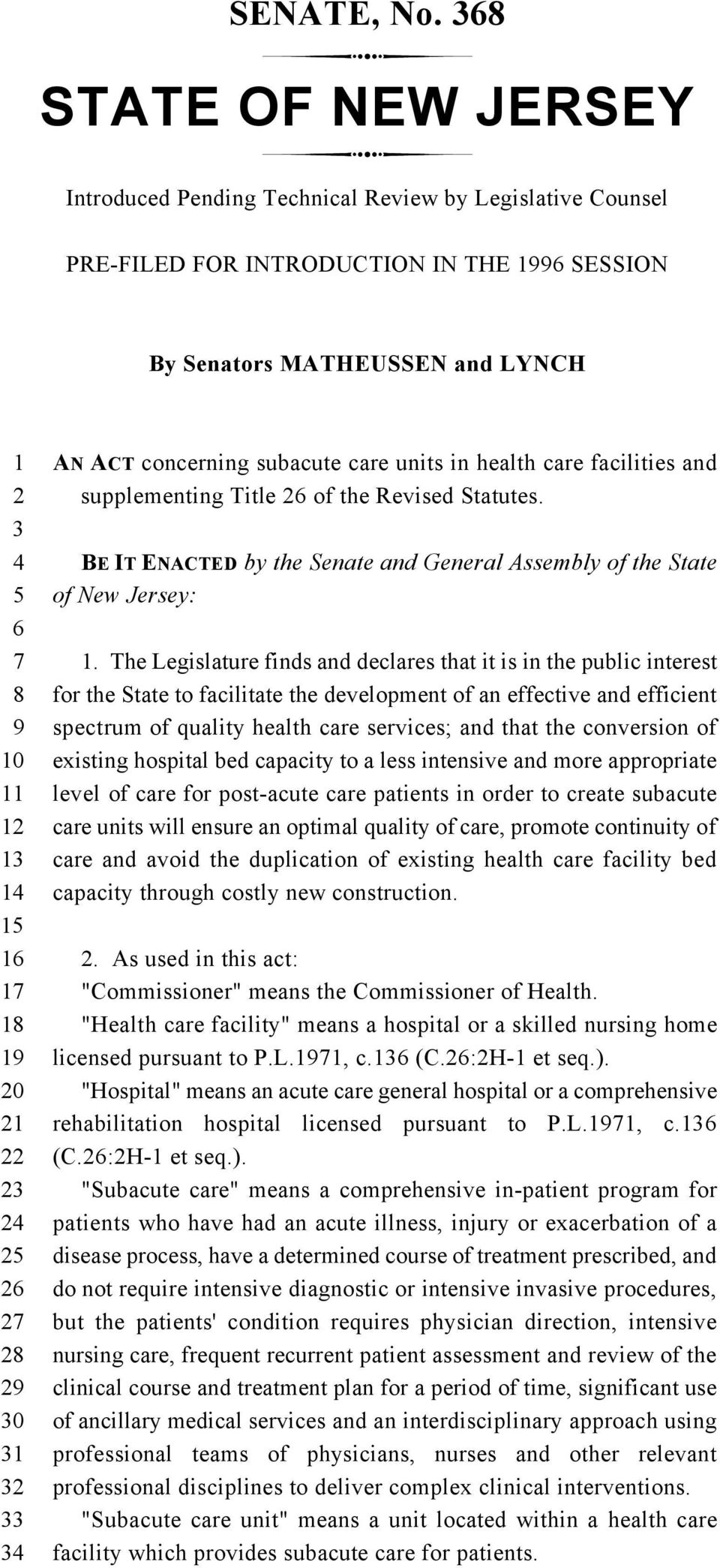 health care facilities and supplementing Title of the Revised Statutes. BE IT ENACTED by the Senate and General Assembly of the State of New Jersey:.