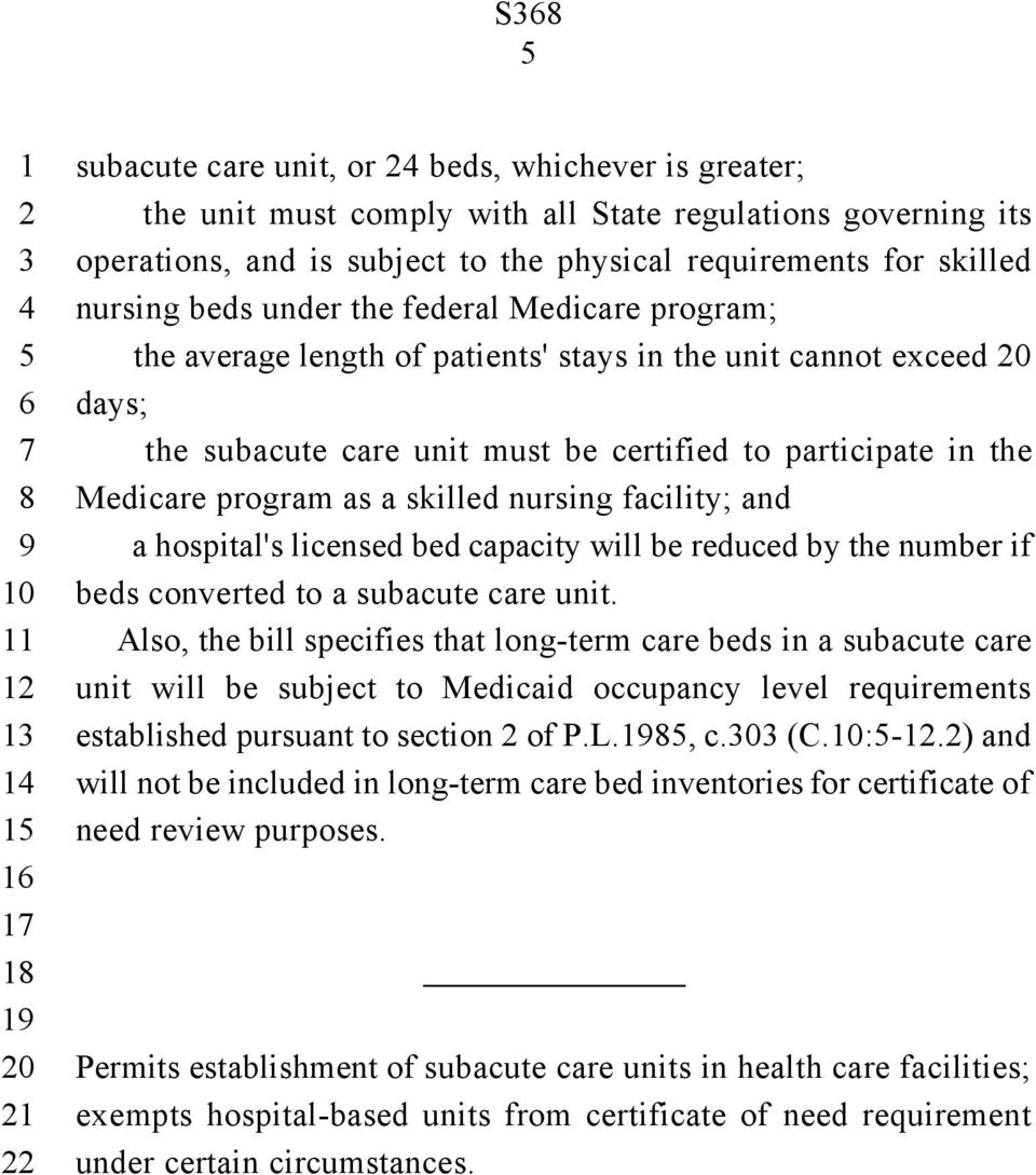skilled nursing facility; and a hospital's licensed bed capacity will be reduced by the number if beds converted to a subacute care unit.