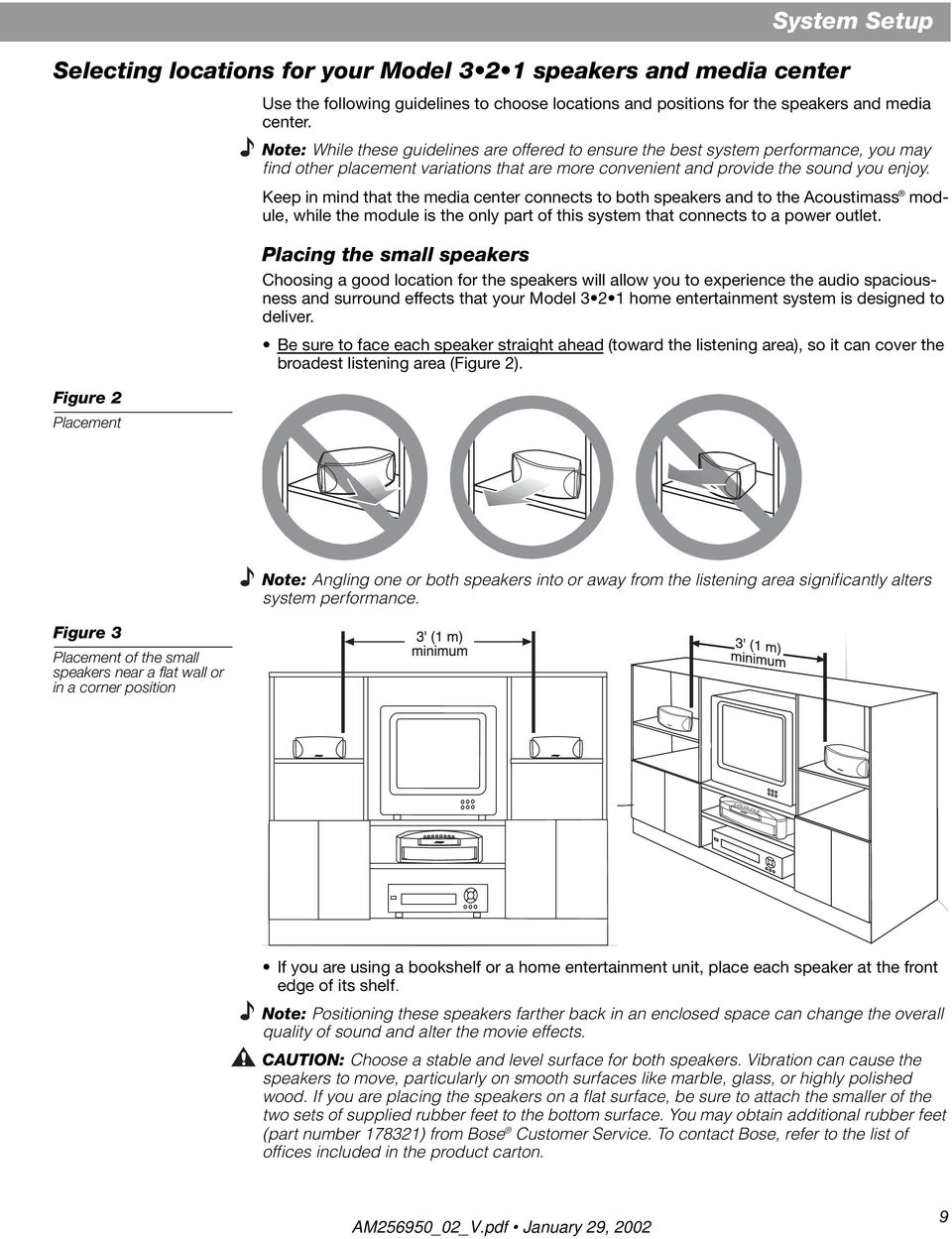 3 2 1 Home Entertainment System Owner S Guide January 29 Pdf Figure Diagram Showing The Placement Of Surround Sound Speakers Keep In Mind That Media Center Connects To Both And Acoustimass Module