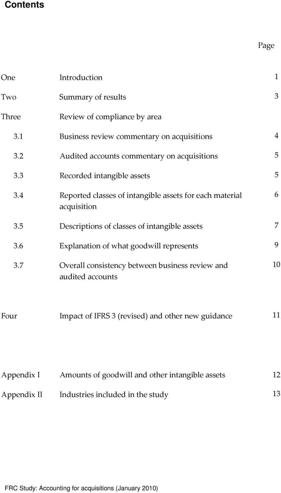 5 Descriptions of classes of intangible assets 7 3.6 Explanation of what goodwill represents 9 3.