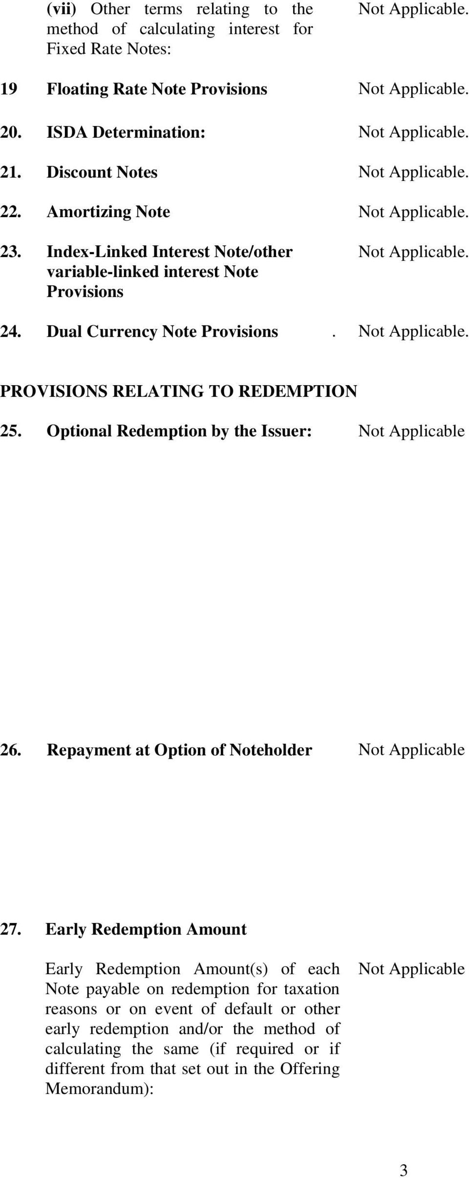 Optional Redemption by the Issuer: Not Applicable 26. Repayment at Option of Noteholder Not Applicable 27.