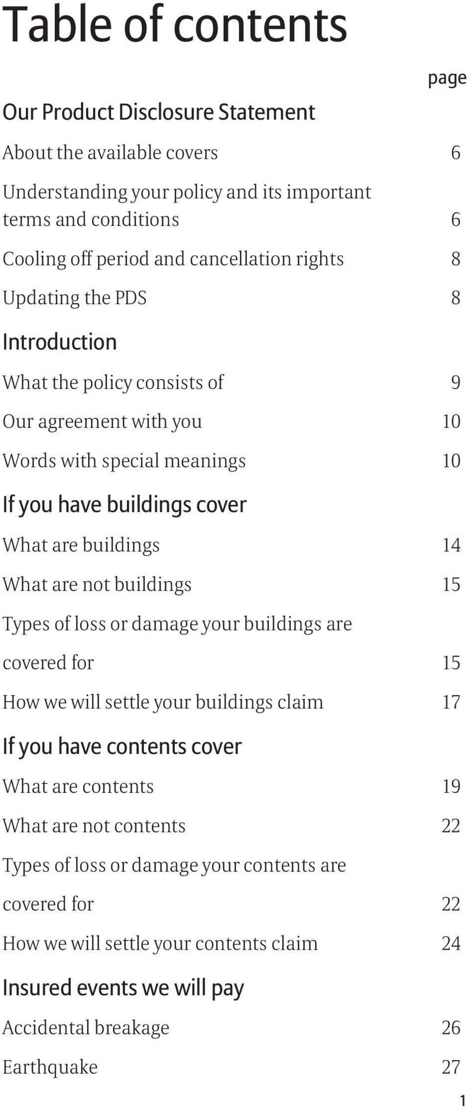 buildings 14 What are not buildings 15 Types of loss or damage your buildings are covered for 15 How we will settle your buildings claim 17 If you have contents cover What are