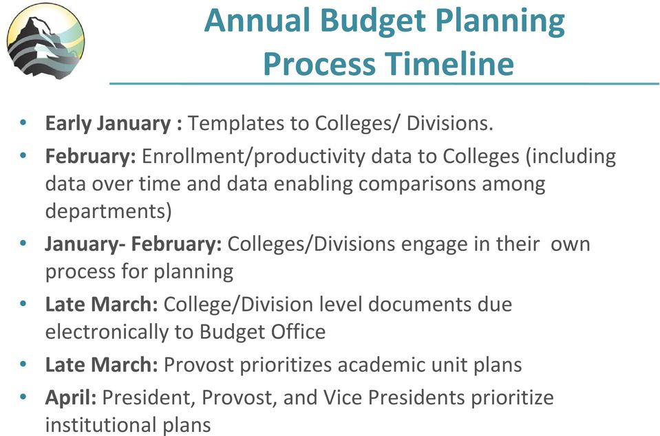 January February: Colleges/Divisions engage in their own process for planning Late March: College/Division level documents