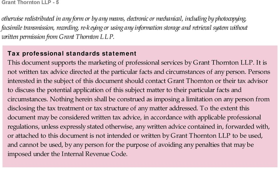 Tax professional standards statement This document supports the marketing of professional services by Grant Thornton LLP.