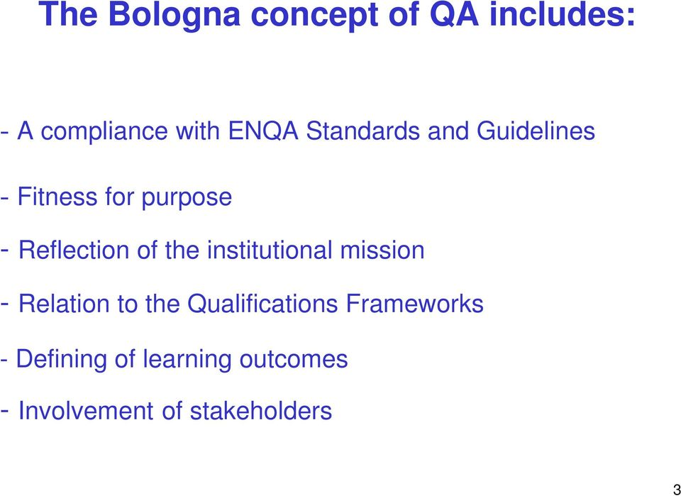 the institutional mission - Relation to the Qualifications