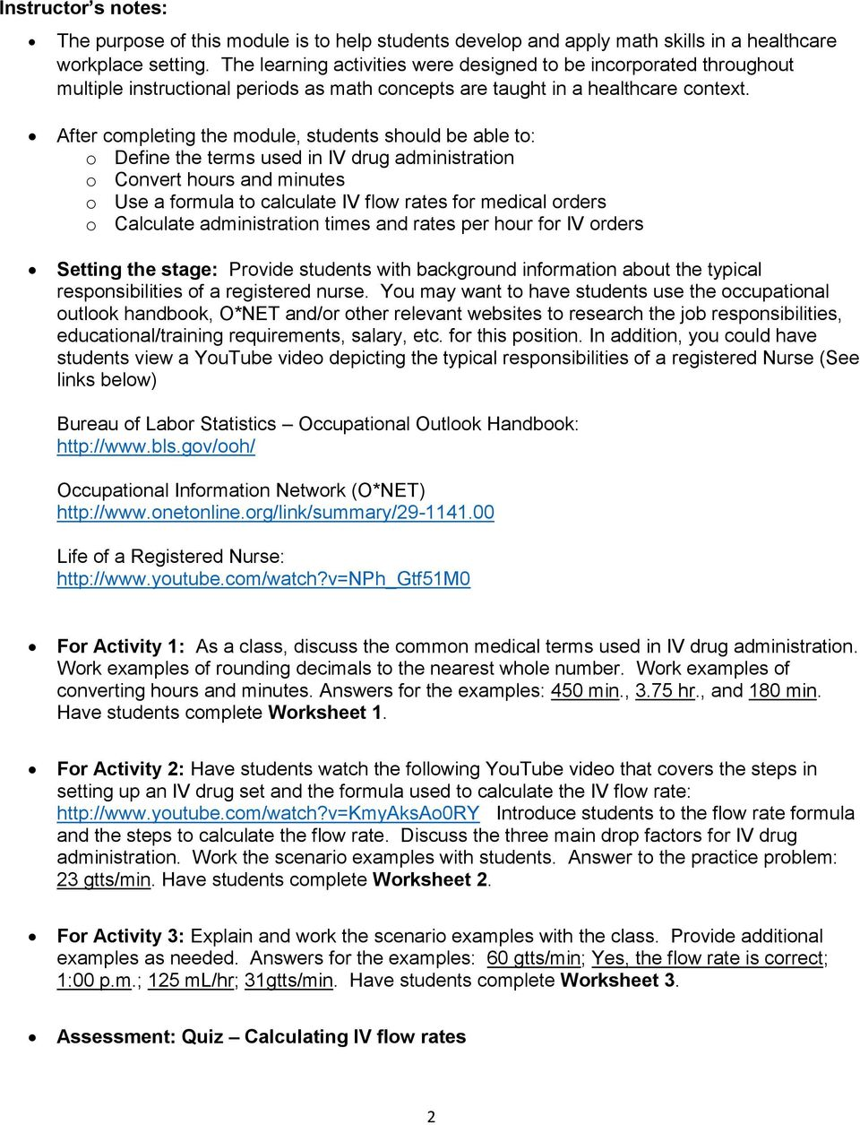 worksheet Occupational Outlook Handbook Worksheet healthcare math calculating iv flow rates pdf after completing the module students should be able to o define terms used