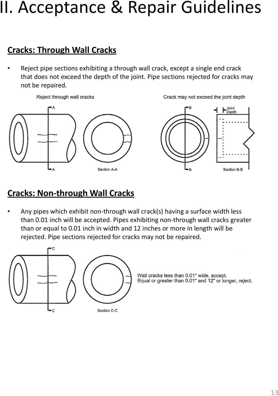 Cracks: Non through hwllc Wall Cracks Any pipes which exhibit non through wall crack(s) having a surface width less than 0.