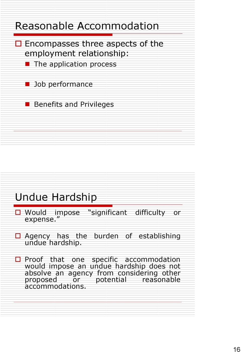 Agency has the burden of establishing undue hardship.