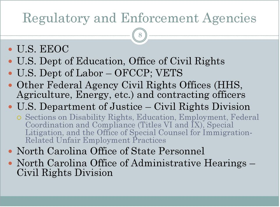 Department of Justice Civil Rights Division Sections on Disability Rights, Education, Employment, Federal Coordination and Compliance (Titles VI and