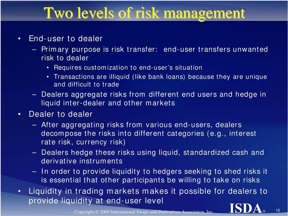 risks from various end-users, dealers decompose the risks into different catego