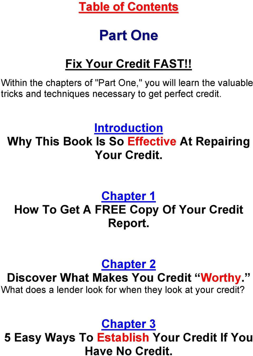Introduction Why This Book Is So Effective At Repairing Your Credit.