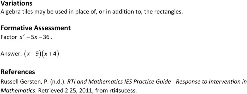 Answer: x 9 x 4 References Russell Gersten, P. (n.d.).