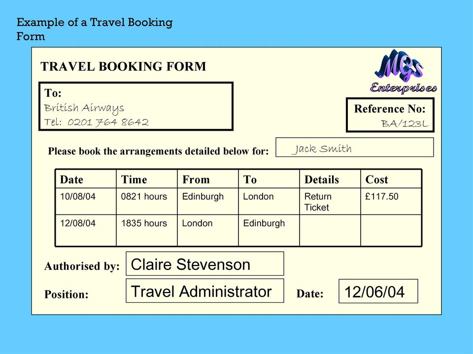 From To Details Cost 10/08/04 0821 hours Edinburgh London Return Ticket 117.