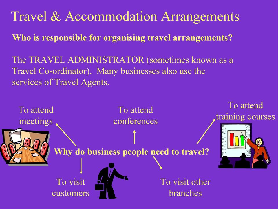 Many businesses also use the services of Travel Agents.