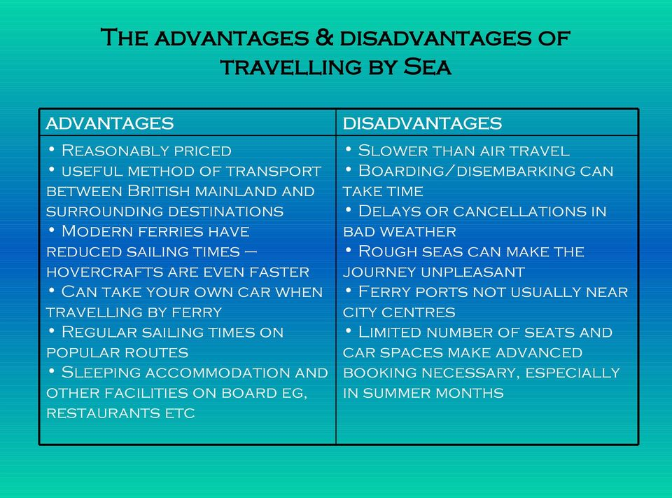 accommodation and other facilities on board eg, restaurants etc DISADVANTAGES Slower than air travel Boarding/disembarking can take time Delays or cancellations in bad