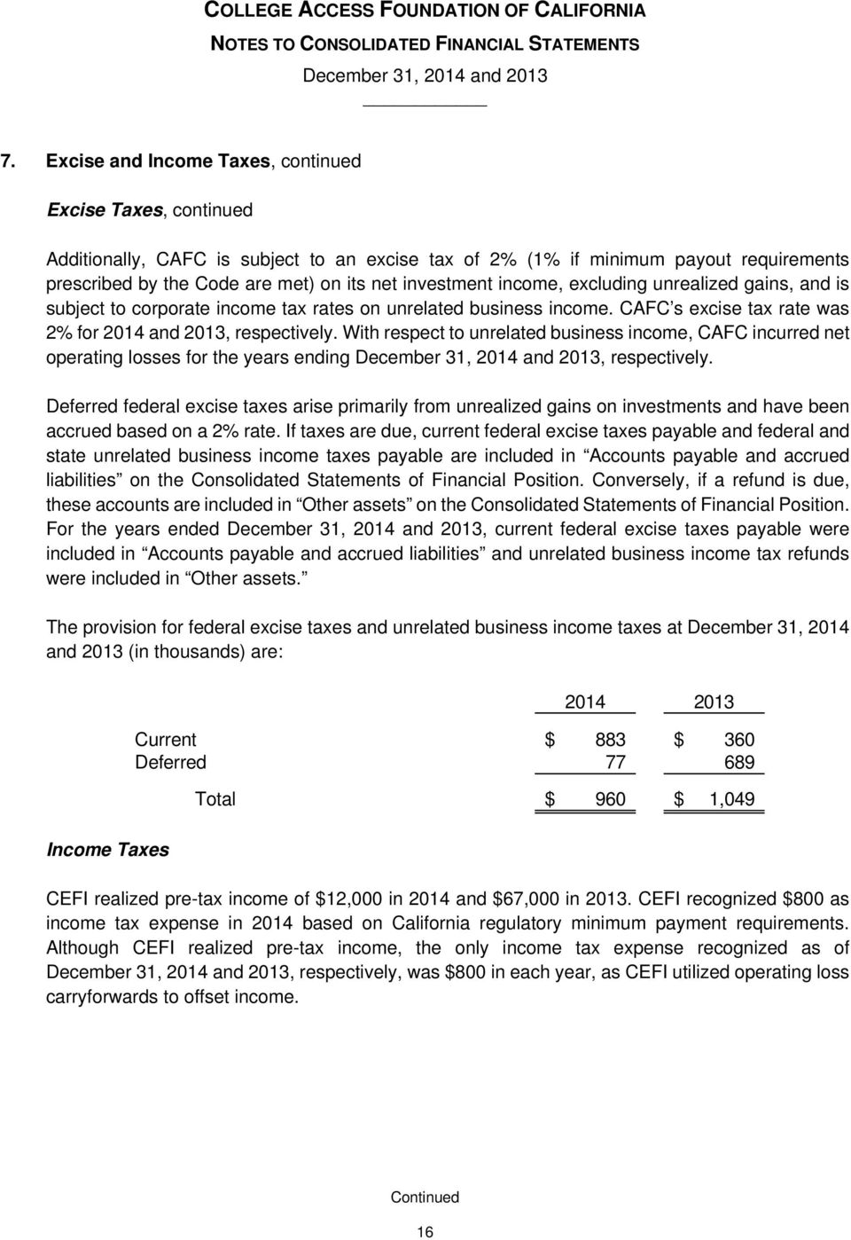 With respect to unrelated business income, CAFC incurred net operating losses for the years ending, respectively.