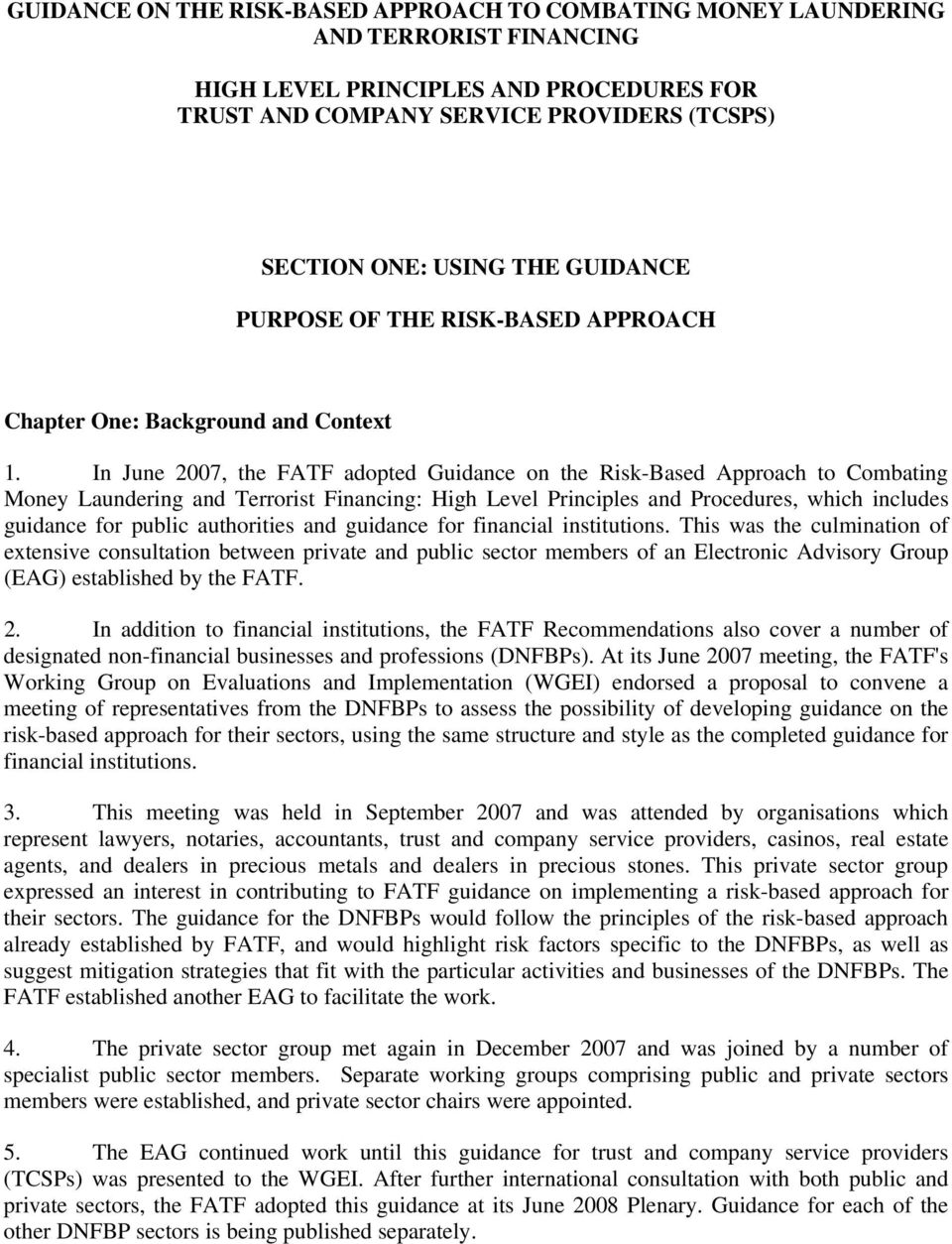 In June 2007, the FATF adopted Guidance on the Risk-Based Approach to Combating Money Laundering and Terrorist Financing: High Level Principles and Procedures, which includes guidance for public
