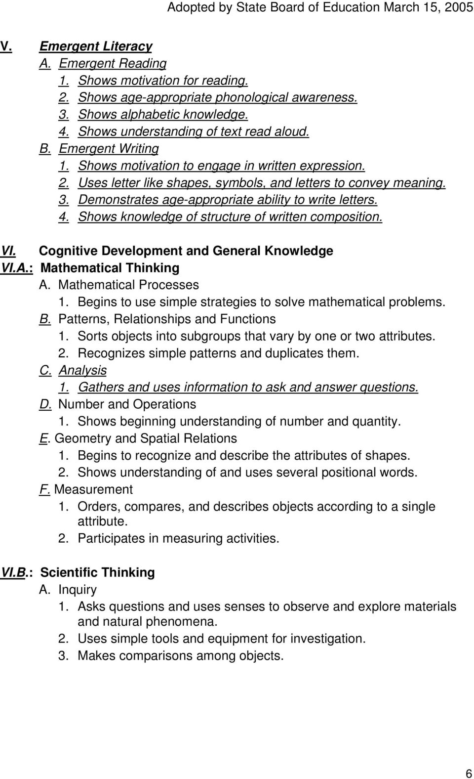 Shows knowledge of structure of written composition. VI. Cognitive Development and General Knowledge VI.A.: Mathematical Thinking A. Mathematical Processes 1.