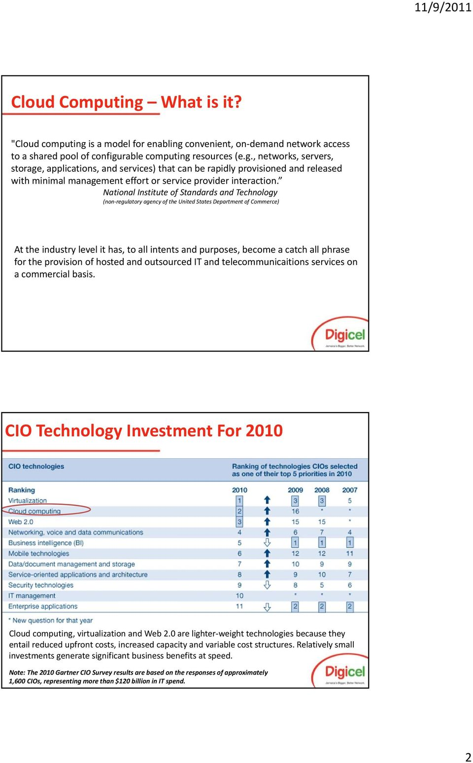 for the provision of hosted and outsourced IT and telecommunicaitions services on a commercial basis. CIO Technology Investment For 2010 computing, virtualization and Web 2.