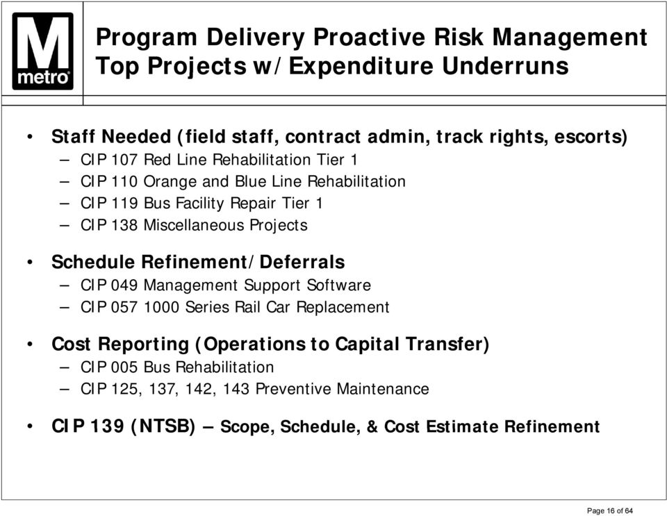 Schedule Refinement/Deferrals CIP 049 Management Support Software CIP 057 1000 Series Rail Car Replacement Cost Reporting (Operations to Capital