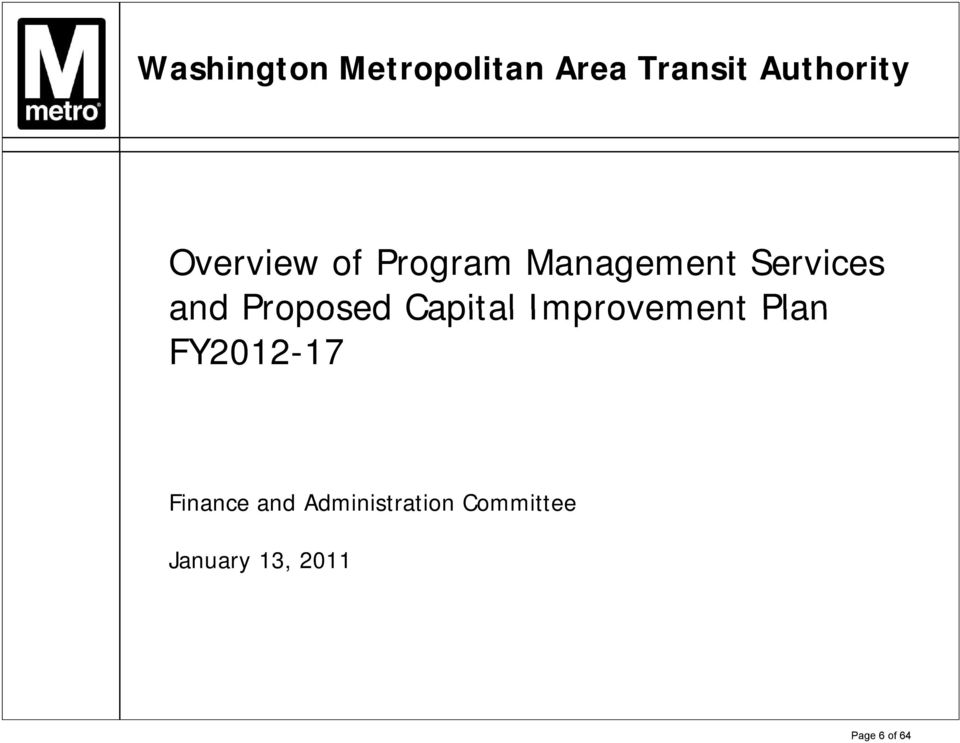 Proposed Capital Improvement Plan FY2012-17