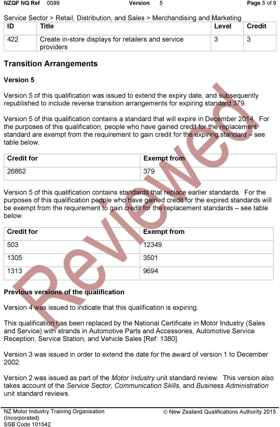 Version 5 of this qualification contains a standard that will expire in December 2014.