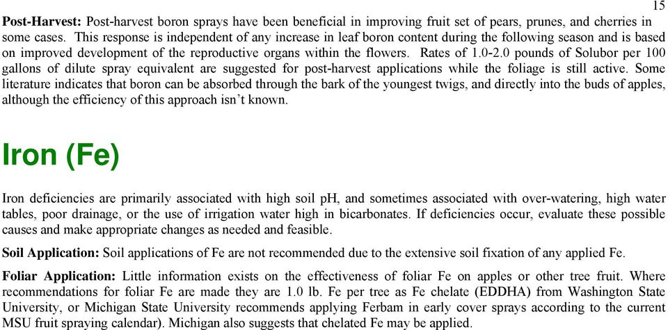 0 pounds of Solubor per 100 gallons of dilute spray equivalent are suggested for post-harvest applications while the foliage is still active.