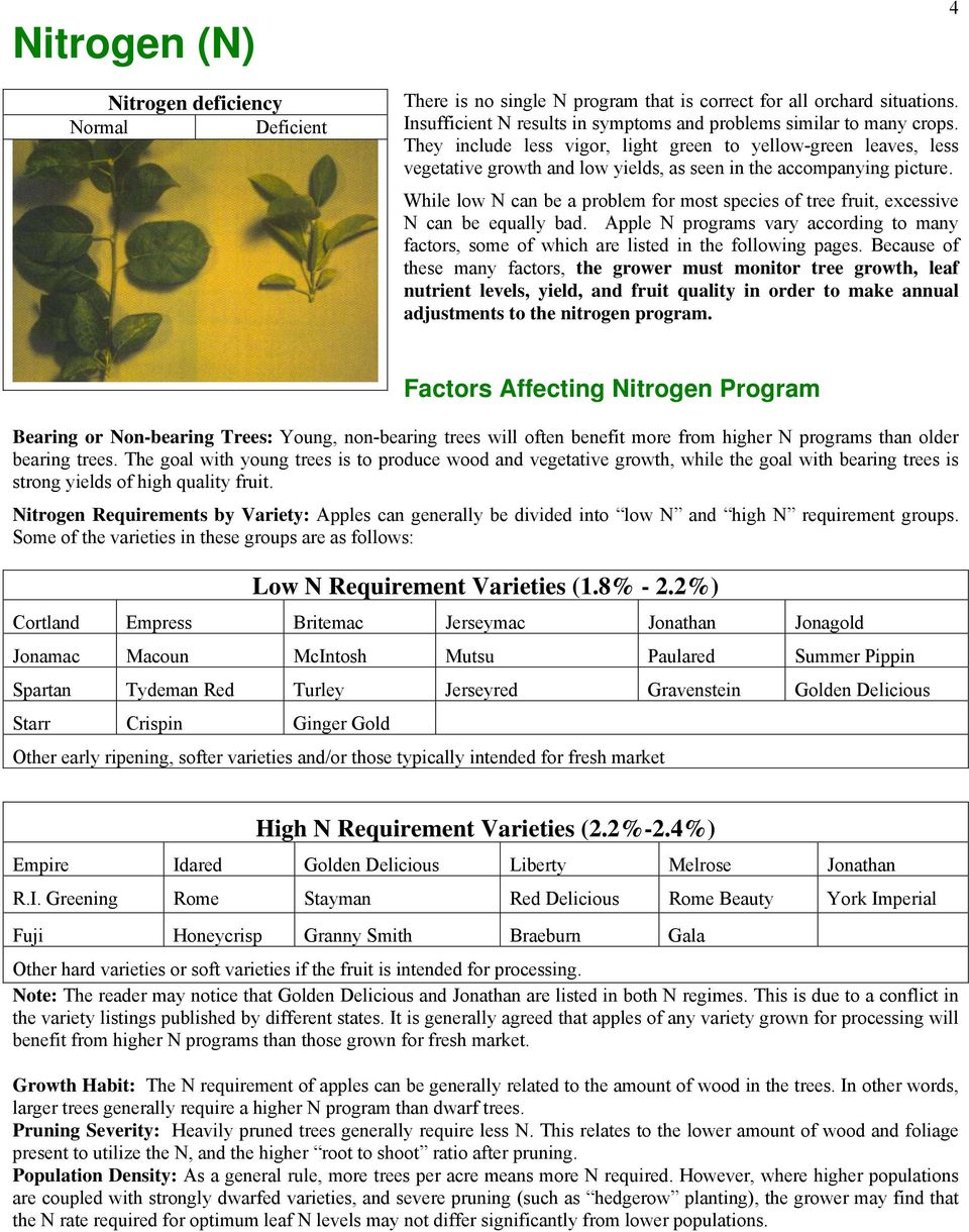 While low N can be a problem for most species of tree fruit, excessive N can be equally bad. Apple N programs vary according to many factors, some of which are listed in the following pages.