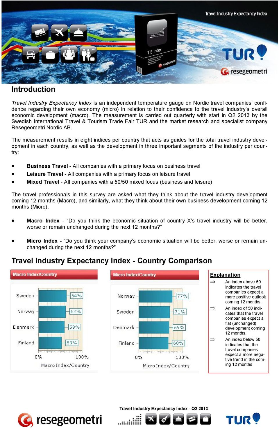 The measurement is carried out quarterly with start in Q2 2013 by the Swedish International Travel & Tourism Trade Fair TUR and the market research and specialist company Resegeometri Nordic AB.