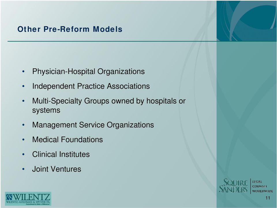 owned by hospitals or systems Management Service