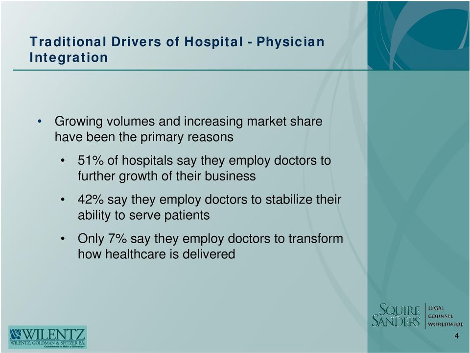 further growth of their business 42% say they employ doctors to stabilize their ability