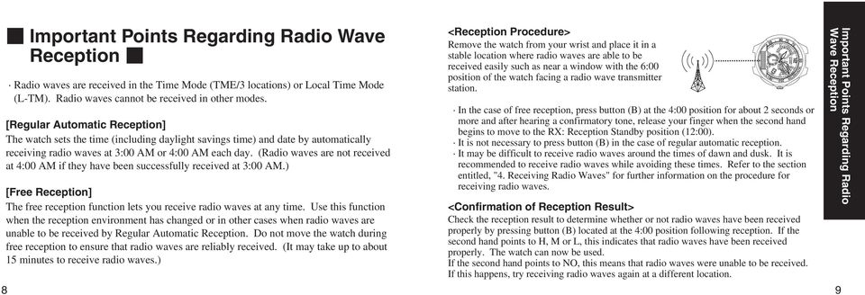 (Radio waves are not received at 4:00 A if they have been successfully received at 3:00 A.) [Free Reception] The free reception function lets you receive radio waves at any time.