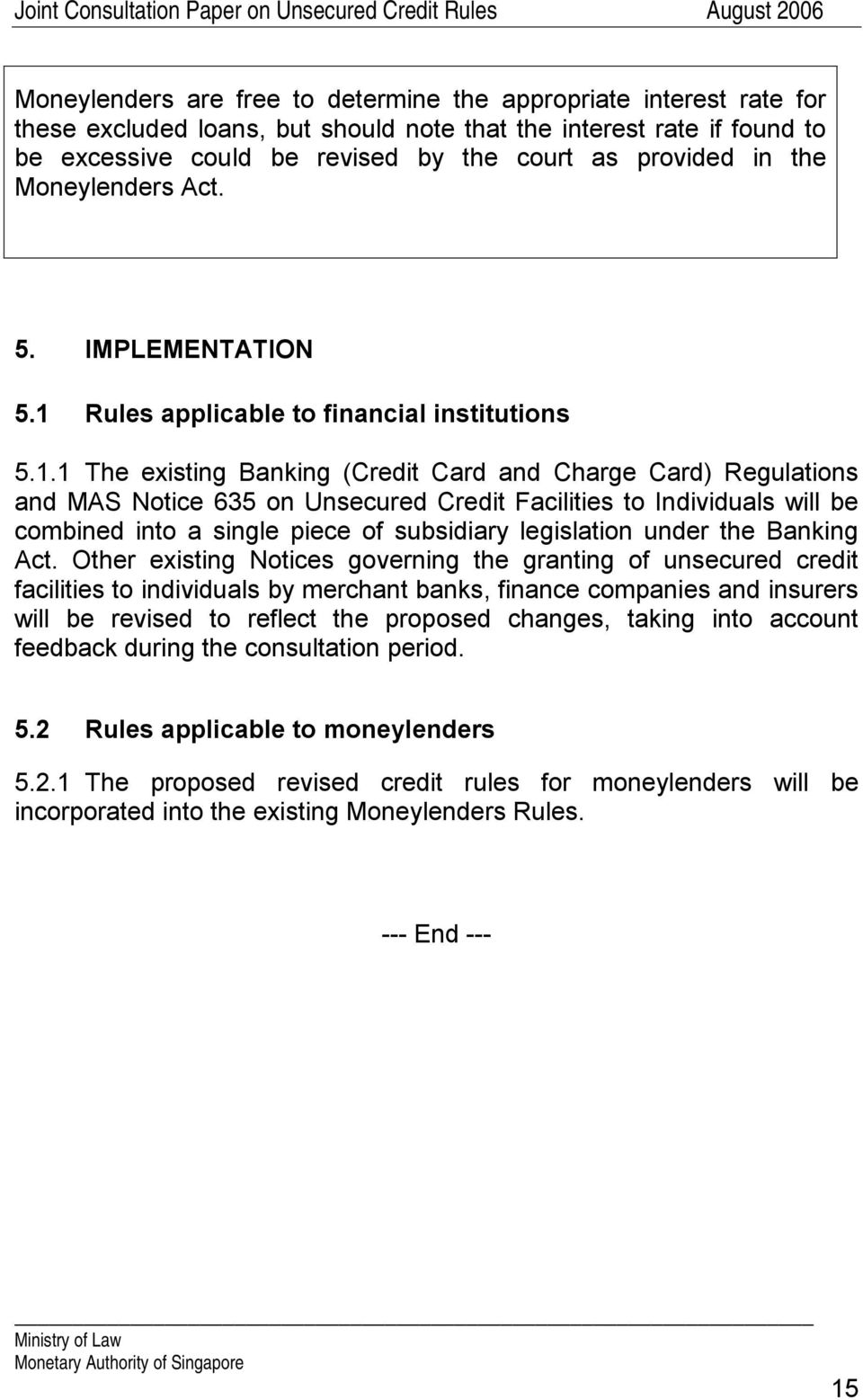 Rules applicable to financial institutions 5.1.