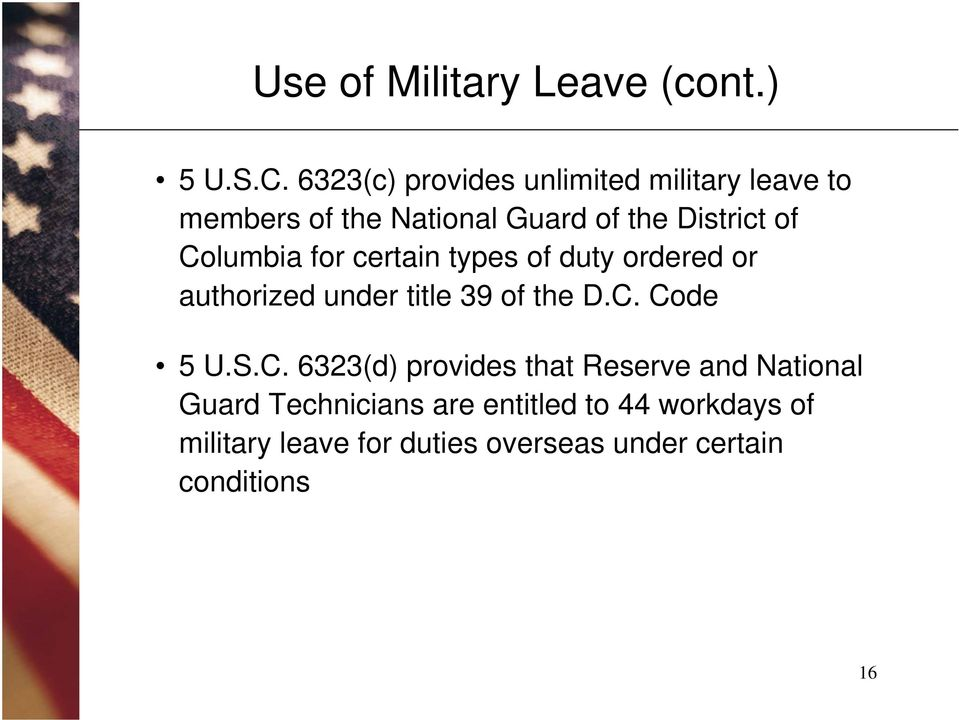 Columbia for certain types of duty ordered or authorized under title 39 of the D.C. Code 5