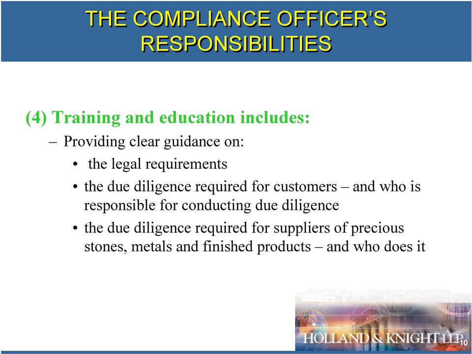 customers and who is responsible for conducting due diligence the due diligence
