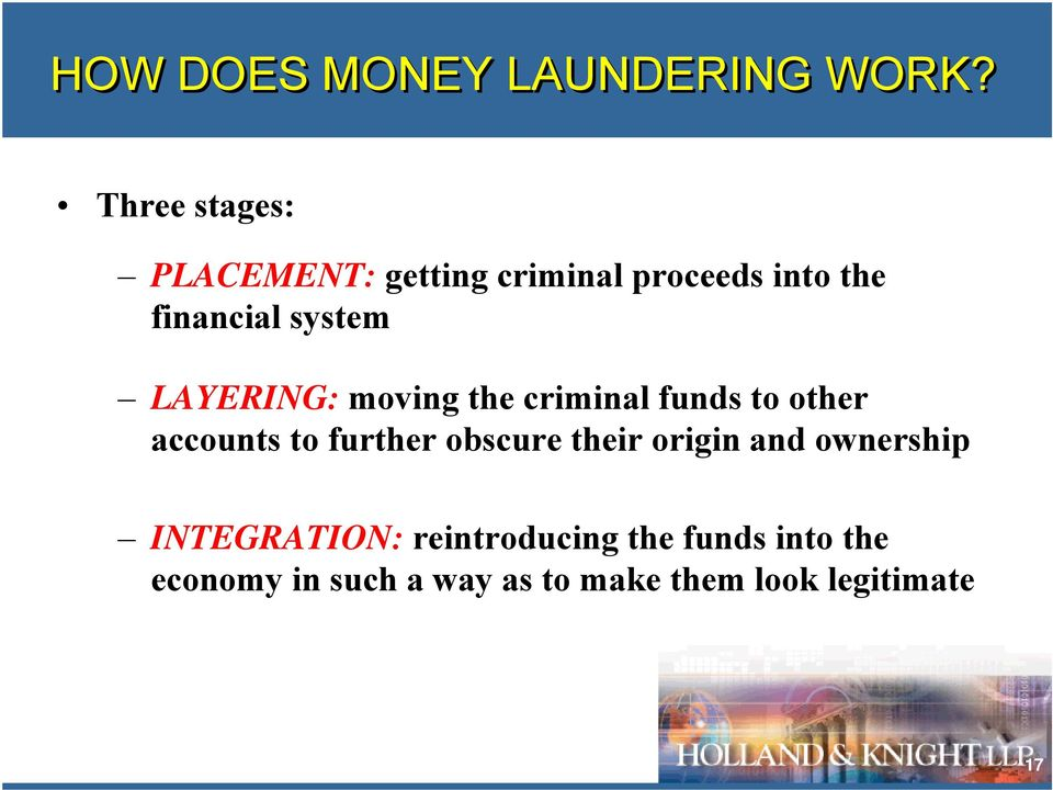 LAYERING: moving the criminal funds to other accounts to further obscure