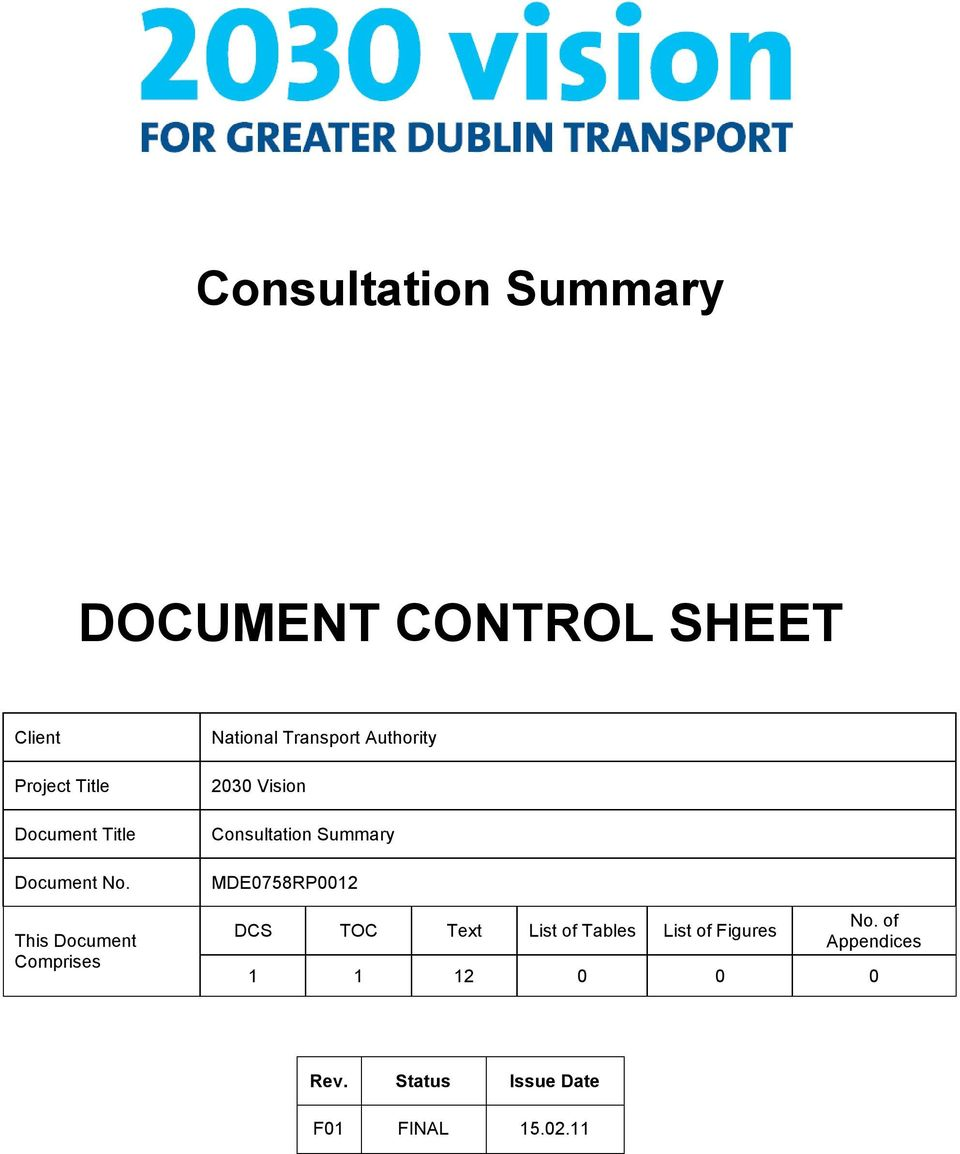 This Document Comprises National Transport Authority 2030 Vision Consultation