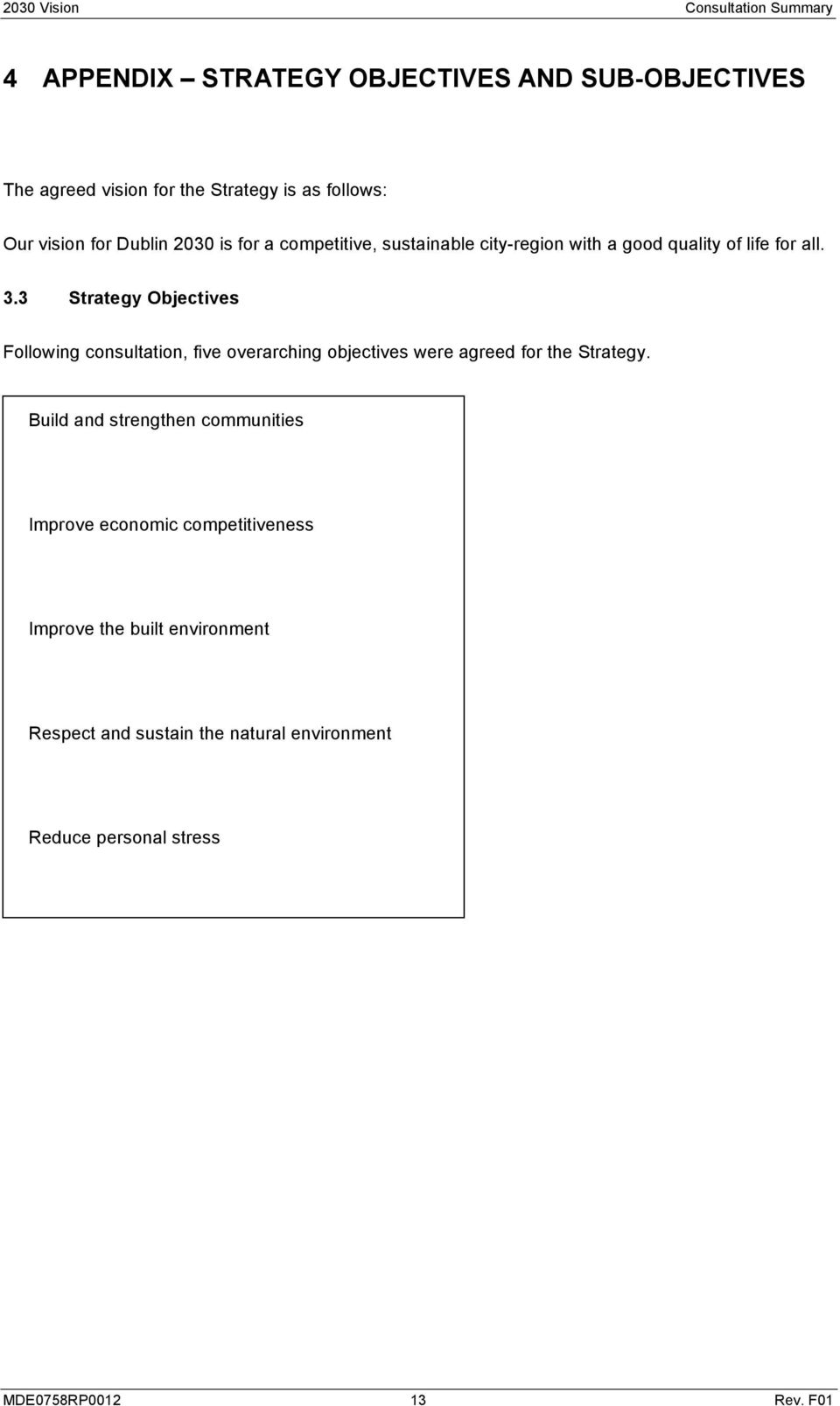 3 Strategy Objectives Following consultation, five overarching objectives were agreed for the Strategy.