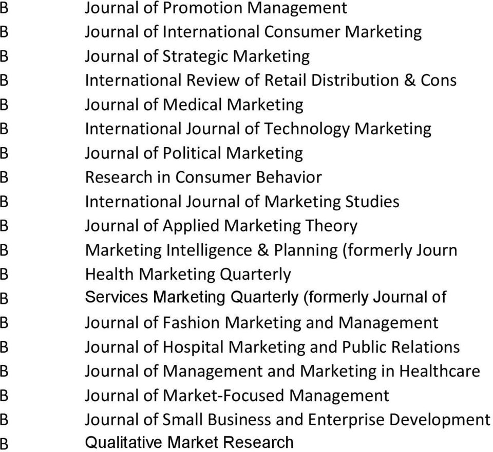 Marketing Intelligence & Planning (formerly Journ Health Marketing Quarterly Services Marketing Quarterly (formerly Journal of Journal of Fashion Marketing and Management Journal of