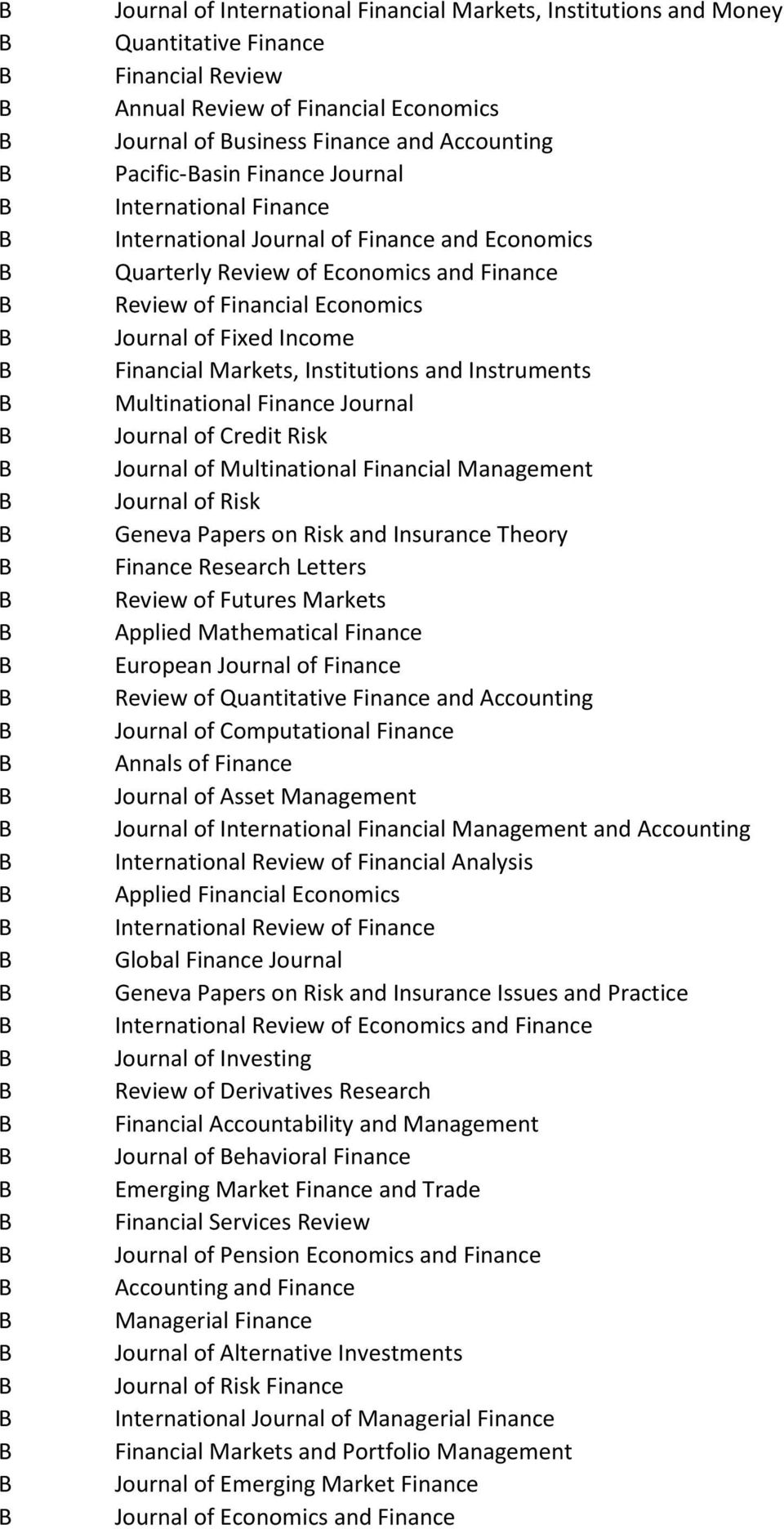 Institutions and Instruments Multinational Finance Journal Journal of Credit Risk Journal of Multinational Financial Management Journal of Risk Geneva Papers on Risk and Insurance Theory Finance