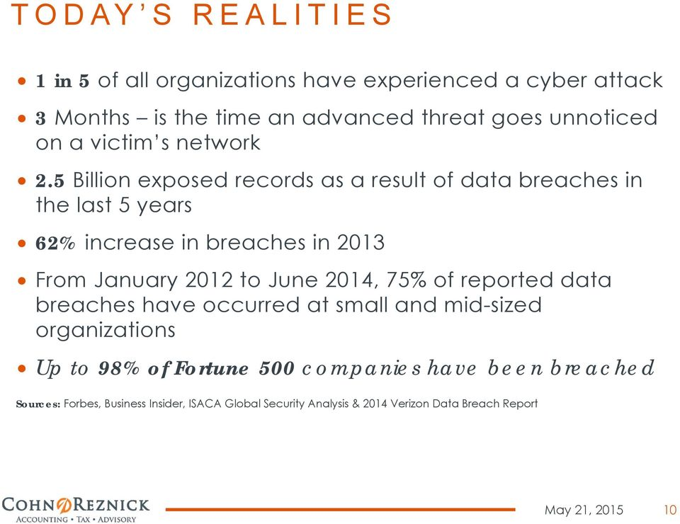 5 Billion exposed records as a result of data breaches in the last 5 years 62% increase in breaches in 2013 From January 2012 to June